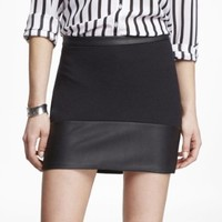 (MINUS THE) LEATHER TRIM PONTE KNIT MINI SKIRT