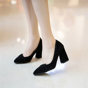 Pointed Toe Women Chunky Heel Pumps Dress Shoes 2962
