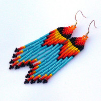 Native American Beaded Earrings Inspired. Yellow Orange Red Black and Turquoise Earrings. Dangle Long Earrings. Beadwork