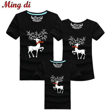 Ming Di Christmas Family Matching Outfits T Shirt More Color Milu Deer Matching Family Clothes Mother Father Baby Short Sleeve