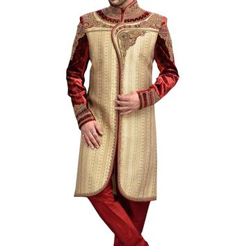 Classic French Beige And Maroon Brocade Jamawar And Velvet Silk Indian Wedding Sherwani For Men Buy Only