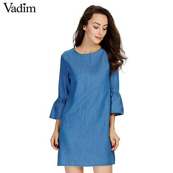 women sweet flare sleeve denim dress O neck half sleeve fashion straight solid ladies brand casual dresses vestidos QZ2872