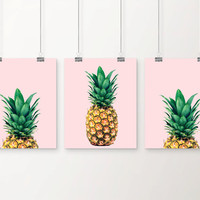 2 posters. Pineapple print. Ananas poster. Pineapple photography. Tropical print. Beach illustration. Printable ananas