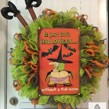 It Just Isn't Halloween Without A Full Moon Ruffle Faux Burlap Jute Deco Mesh Wreath