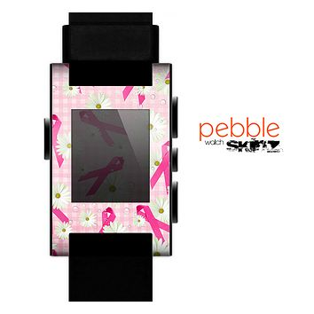 The Pink Ribbon Collage Breast Cancer Awareness Skin for the Pebble SmartWatch