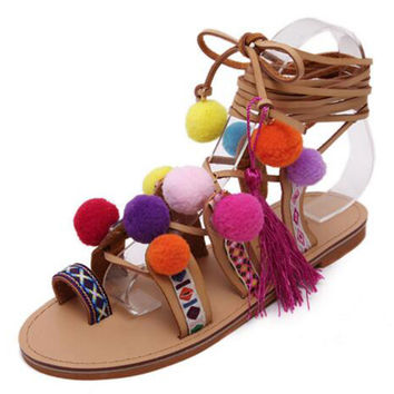 Brown Embroidered Tie Up Pom Pom Detail Flat Sandals