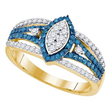 10kt Yellow Gold Womens Round Blue Color Enhanced Diamond Marquise-shape Halo Cluster Ring 7/8 Cttw