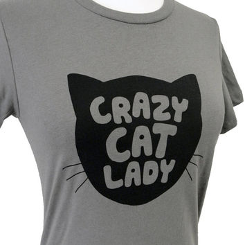 Womens Cat TShirt  Crazy Cat Lady Print on a Gray by theboldbanana