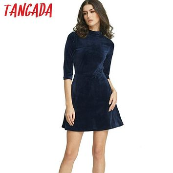 Tangada Fashion Women Velvet Dresses Office Navy Ukraine Vintage Tunic Warm Autumn Winter Alibaba Express Female Vestidos JH1