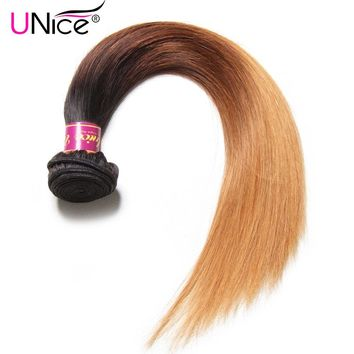 UNice Hair Color 1B/4/27 Peruvian Straight Hair Weave 1 Piece Ombre Hair Extensions Three Tone Remy Hair Bundles 16-26inch