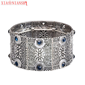 XIAONIANSHI New originality vintage antique gold silver openwork wide cuff bracelet & bangles women retro Ethnic jewelry gift