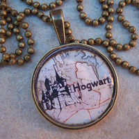 Harry Potter Necklace Hogwarts School of by islandgirlzjewelry