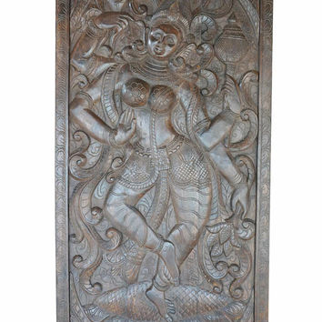 Vintage Hand Carved Durga Goddess SHAKTI Barn Doors Indian Divine Eclectic Decor