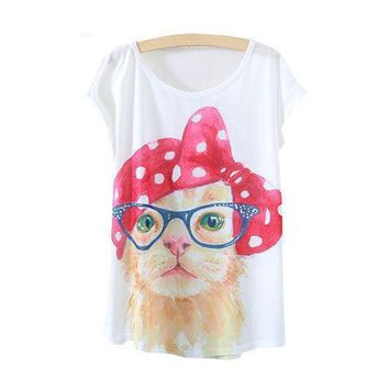 Cute Cat With Glasses Flowy Loose T-Shirts