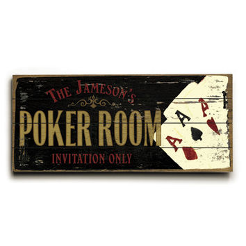 Personalized Poker Room Wood Sign