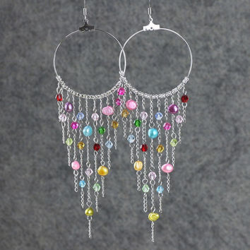 Colorful dangleing chandelier big hoop Earrings