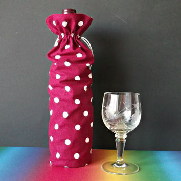 Tall fabric wine bottle bag Christmas favor bag Round bottom bottle drawstring pouch Red White Polka dot reusable wine bag