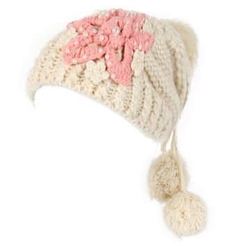 Flower Crochet Knitting Braids Caps Slouch Beanie Ball Bead Woven Hats