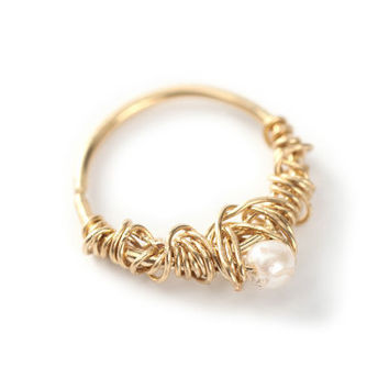 septum jewelry - crochet with purl - Gold nose ring 14 karat yellow gold - nose jewelry - cartilage - tragus - piercing