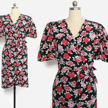 Vintage 80s SILK DRESS / 1980s Albert Nipon Rose Print Puff Sleeve Dress XS