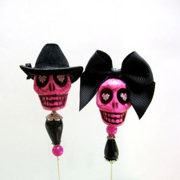 Day of the Dead Cake Topper Sugar Skull Lapel Pin Hat Pin Bride & Groom - Cowboy Cowgirl Sweeties