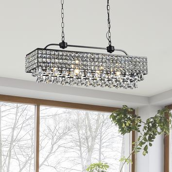 Jolie Antique Black 5-light Rectangular Crystal Chandelier