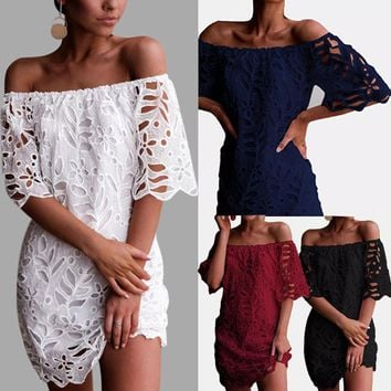 Sexy Dress For Women Summer Lace Off Shoulder Hollow Mini Dress Sexy Solid Backless Collar Women Dresses