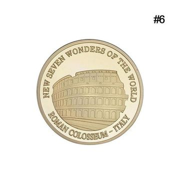 New Seven Wonders Of The World Roman Collesseum Coin Collection Souvenir Gift Collectibles