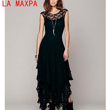 Women's Boho People Hippie Style Lrregular Lace Dress Sexy Long Dress Double Layered Ruffled Trimming Low V-Back Vestidos Mujer