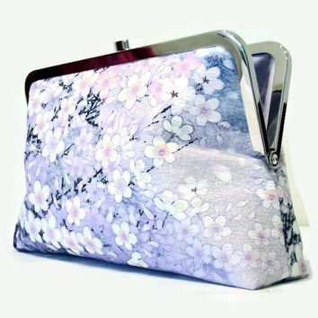 "Bridal Clutch Purse In Shades Of Purple And Lilac With A Cherry Blossom Floral Design, Purple Clutch Bag Made From Japanese Silk 9"" x 5.5"""
