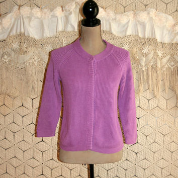 Purple Cardigan Sweater Spring Sweater 3/4 Sleeve Sweater Cotton Sweater Lilac Womens Cardigan Womens Sweaters Talbots Small Womens Clothing