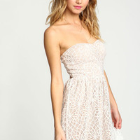 STRAPLESS CROCHET FLARE DRESS