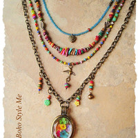 Bohemian Jewelry, Colorful Layered Beaded Necklace, Modern Hippie, Urban Gypsy, Boho Chic, Boho Style Me, Kaye Kraus