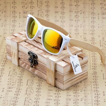 W00-White Frame Wood Bamboo 2015 Fashion Summer Syle Unisex Polarized Mirrored Sunglasses In Wood Box