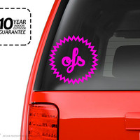 "Custom Monogram Car Decal or Wall Decor or Car Decal Style 17 - Buy One Get One Decal Free! (Free Decal will be smaller at 4"")"