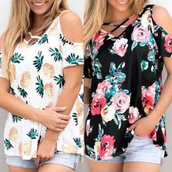 Summer New Women Tee V Neck Floral Print Ladies Short Sleeve Loose Tops Cold Shoulder Casual T Shirts