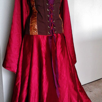 Red Satin Underdress, Bell Sleeves, Kirtle, Dress