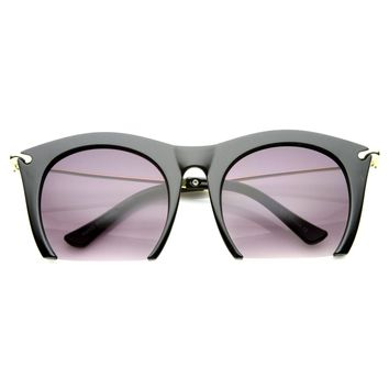 Trendy Women's Fashion Half Frame Cat Eye Sunglasses 9651