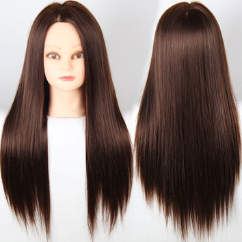 Training Head For Hairdressers Mannequin Head With Hair Brown Color Dummy Hair Mannequins For Sale Mannequin Head With Makeup