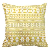 Chic Ethnic Gold Aztec Pattern Pillow