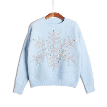 Ladies Wool Knit Pullover Round-neck Long Sleeve Christmas Tops [8422524993]