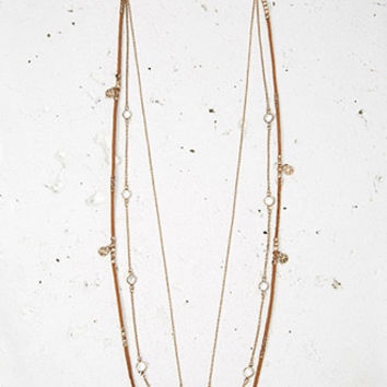 Layered Cord Charm Necklace