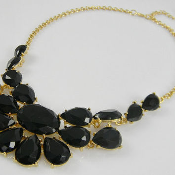 STATEMENT Bib Necklace - CHUNKY Black & Gold Color Collar BIB Anthropologie-Style