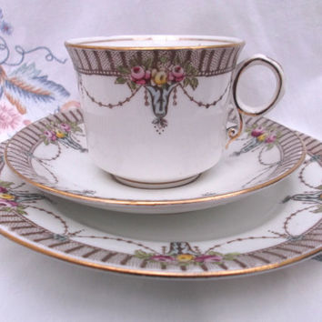 Art Nouveau tea cup, saucer and plate by Royal Albert Crown China  entitled Washington .  Very Downtown Abbey.