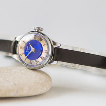 Small woman watch, silver navy watch Seagull, lady's wristwatch 70s, petite women's watch Soviet, watch gift her, new premium leather strap