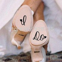 I Do Wedding Shoe Decal Cute Vinyl Creative Novelty Shoe Stickers for Wedding Accessor
