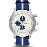 Fossil Compass White Dial Blue Striped Nylon Mens Watch JR1460