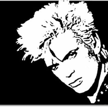 Billy Idol Black & White Acrylic Popart Painting Free Shipping