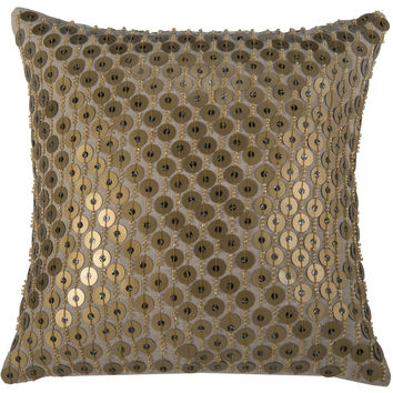 """Hand Applique of Sequins Gold Pillow Cover (12"""" x 12"""")"""