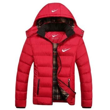 CREYV9O NIKE' Men Fashion Long Sleeve Cardigan Bread Down Coat Cotton-padded Clothes Jacket G